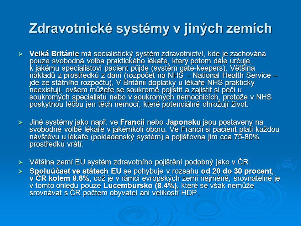 Zdravotnické systémy v jiných zemích  Velká Británie má socialistický systém zdravotnictví, kde je zachována pouze svobodná volba praktického lékaře,