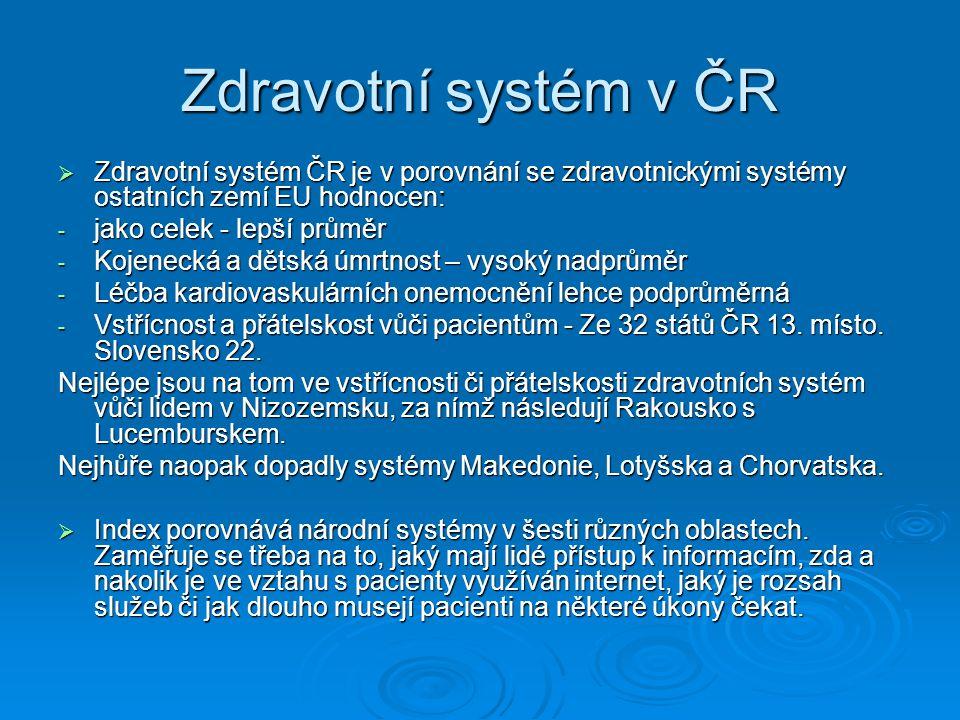 Zdravotní systém v ČR  Zdravotní systém ČR je v porovnání se zdravotnickými systémy ostatních zemí EU hodnocen: - jako celek - lepší průměr - Kojenec