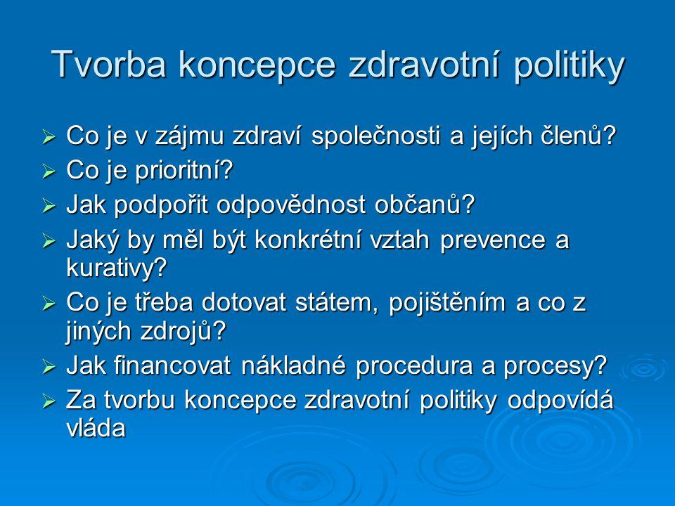 Tvorba koncepce zdravotní politiky  Co je v zájmu zdraví společnosti a jejích členů?  Co je prioritní?  Jak podpořit odpovědnost občanů?  Jaký by