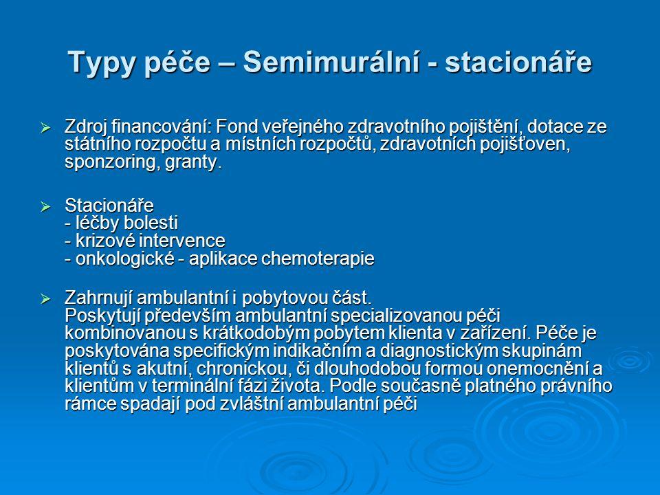 Typy péče – Semimurální - stacionáře  Zdroj financování: Fond veřejného zdravotního pojištění, dotace ze státního rozpočtu a místních rozpočtů, zdrav