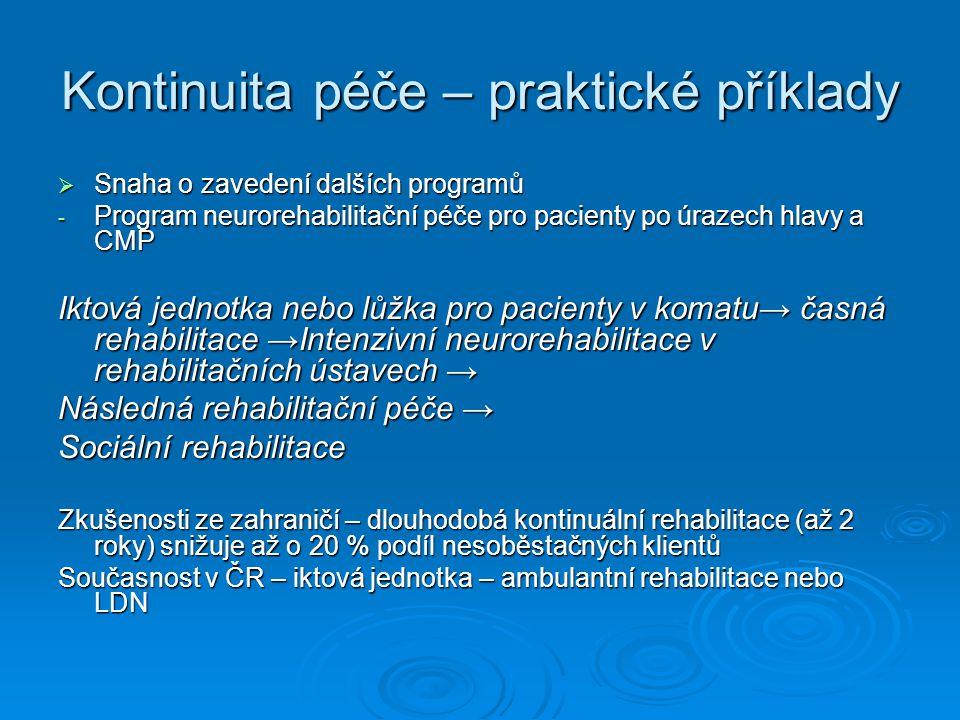 Kontinuita péče – praktické příklady  Snaha o zavedení dalších programů - Program neurorehabilitační péče pro pacienty po úrazech hlavy a CMP Iktová