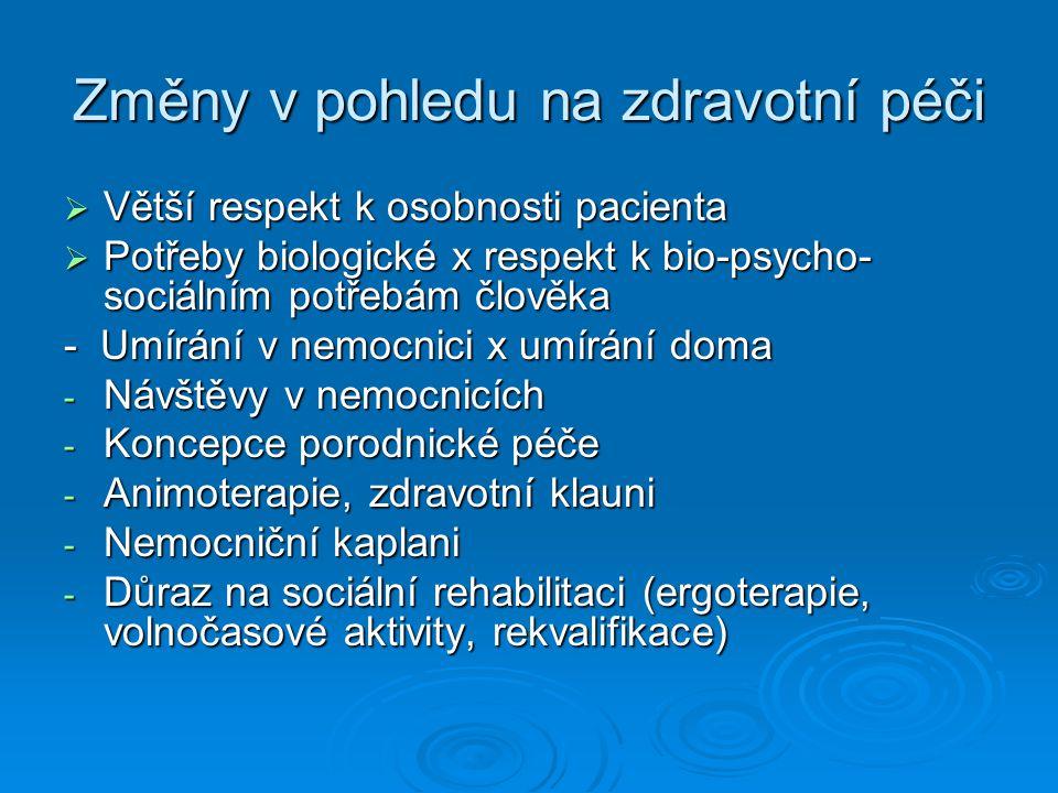 Změny v pohledu na zdravotní péči  Větší respekt k osobnosti pacienta  Potřeby biologické x respekt k bio-psycho- sociálním potřebám člověka - Umírá