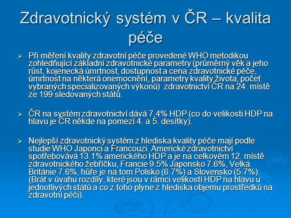 Zdravotnický systém v ČR – kvalita péče  Při měření kvality zdravotní péče provedené WHO metodikou zohledňující základní zdravotnické parametry (prům
