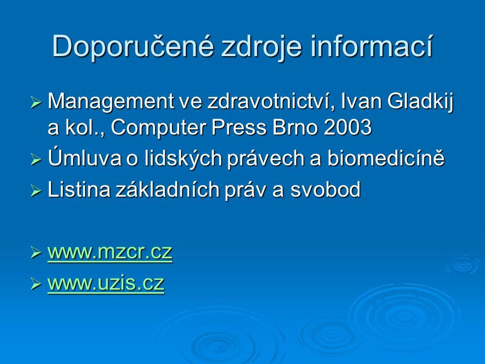 Doporučené zdroje informací  Management ve zdravotnictví, Ivan Gladkij a kol., Computer Press Brno 2003  Úmluva o lidských právech a biomedicíně  L