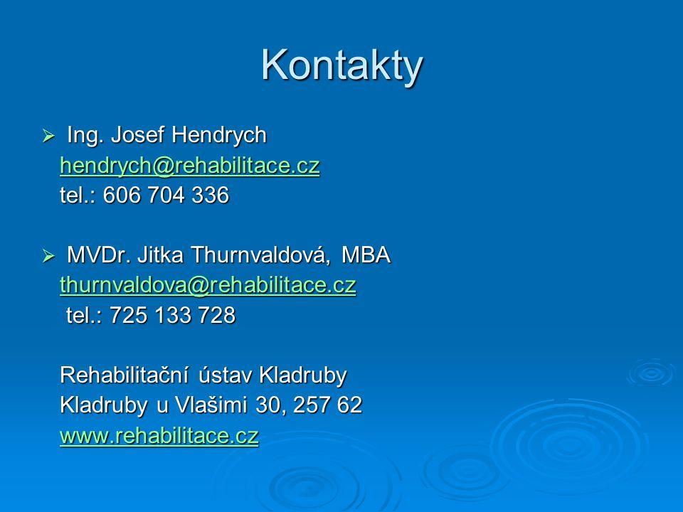 Kontakty  Ing. Josef Hendrych hendrych@rehabilitace.cz hendrych@rehabilitace.czhendrych@rehabilitace.cz tel.: 606 704 336 tel.: 606 704 336  MVDr. J