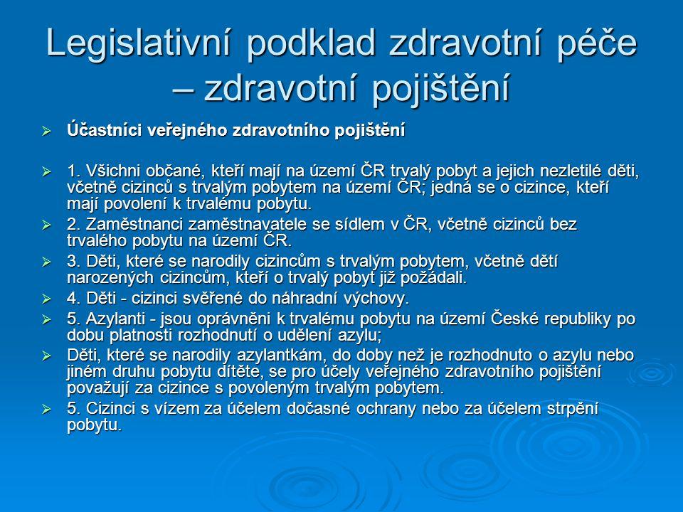 Legislativní podklad zdravotní péče – zdravotní pojištění  Účastníci veřejného zdravotního pojištění  1. Všichni občané, kteří mají na území ČR trva