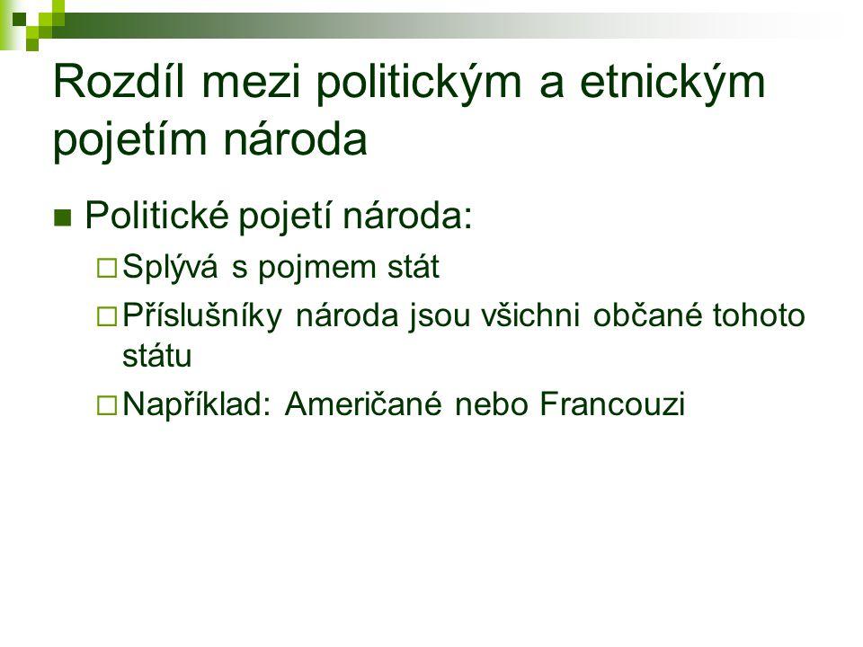 Rozdíl mezi politickým a etnickým pojetím národa Politické pojetí národa:  Splývá s pojmem stát  Příslušníky národa jsou všichni občané tohoto státu