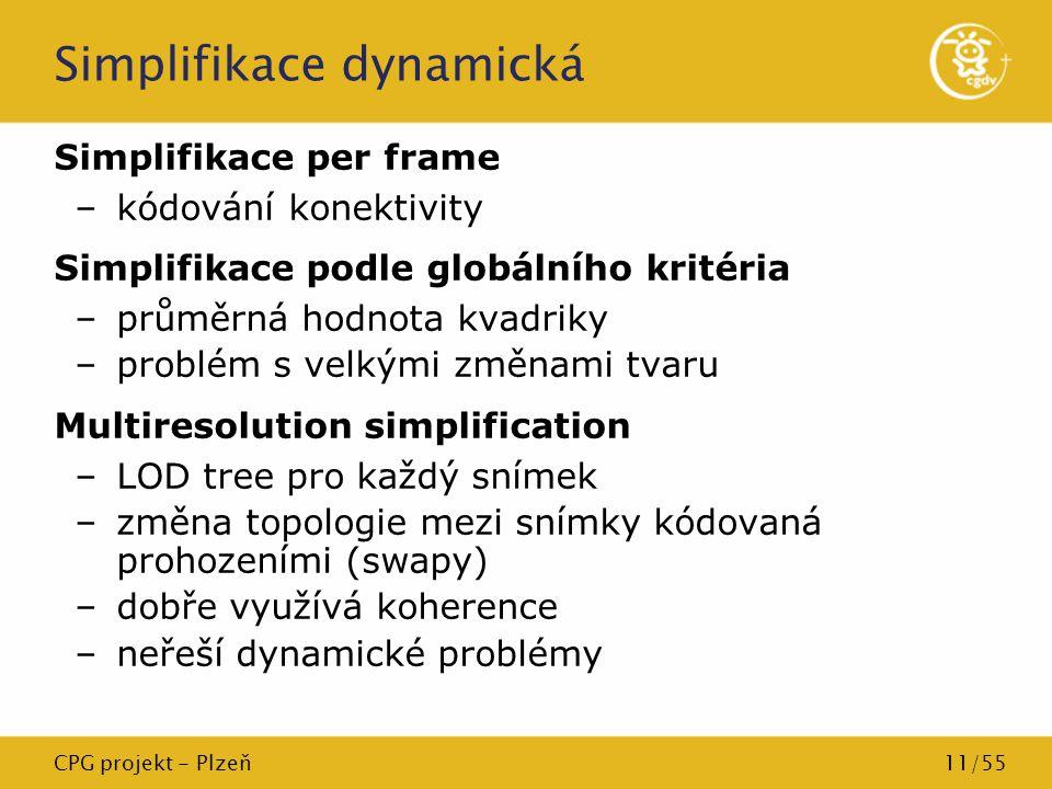 CPG projekt - Plzeň11/55 Simplifikace dynamická Simplifikace per frame –kódování konektivity Simplifikace podle globálního kritéria –průměrná hodnota