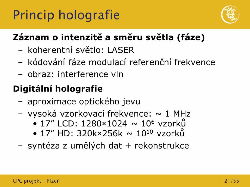 CPG projekt - Plzeň21/55 Princip holografie Záznam o intenzitě a směru světla (fáze) –koherentní světlo: LASER –kódování fáze modulací referenční frek