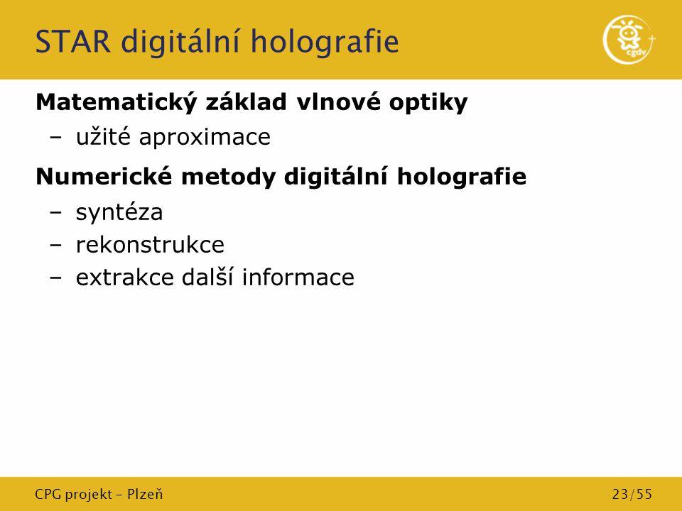 CPG projekt - Plzeň23/55 STAR digitální holografie Matematický základ vlnové optiky –užité aproximace Numerické metody digitální holografie –syntéza –