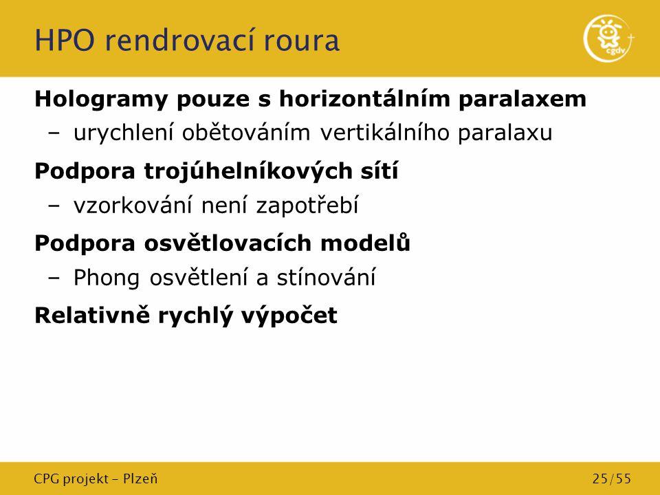 CPG projekt - Plzeň25/55 HPO rendrovací roura Hologramy pouze s horizontálním paralaxem –urychlení obětováním vertikálního paralaxu Podpora trojúhelní
