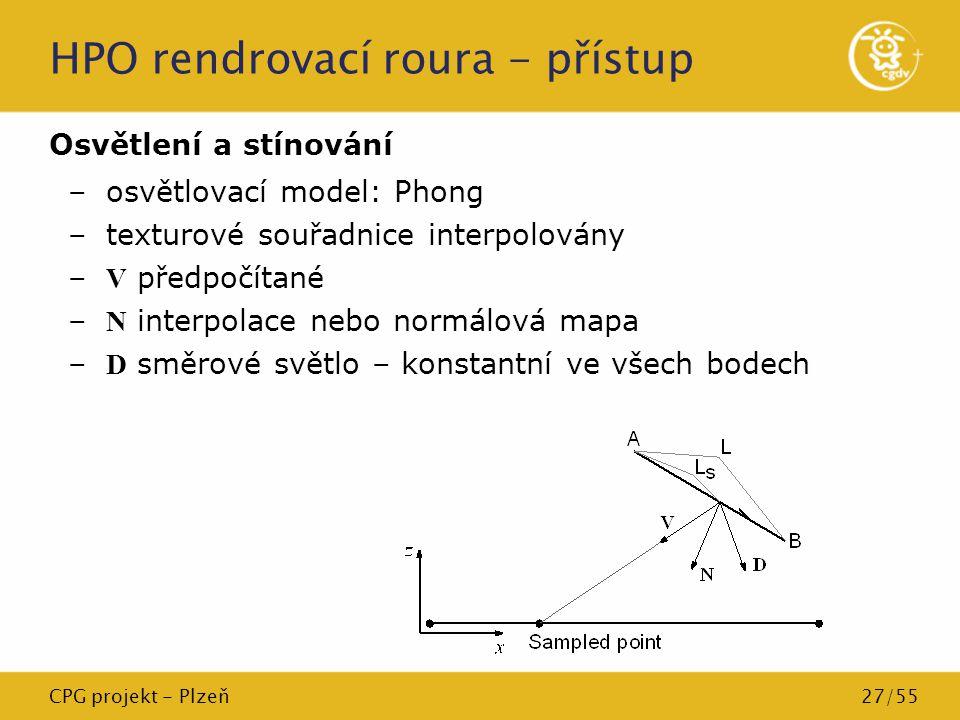 CPG projekt - Plzeň27/55 HPO rendrovací roura - přístup Osvětlení a stínování –osvětlovací model: Phong –texturové souřadnice interpolovány – V předpo