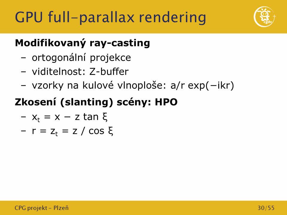 CPG projekt - Plzeň30/55 GPU full-parallax rendering Modifikovaný ray-casting –ortogonální projekce –viditelnost: Z-buffer –vzorky na kulové vlnoploše