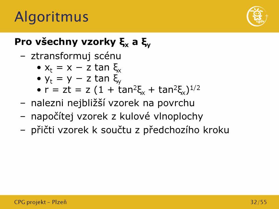 CPG projekt - Plzeň32/55 Algoritmus Pro všechny vzorky ξ x a ξ y –ztransformuj scénu x t = x − z tan ξ x y t = y − z tan ξ y r = zt = z (1 + tan 2 ξ x