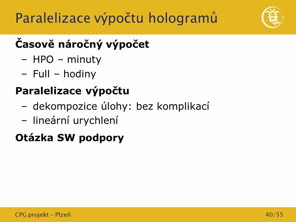 CPG projekt - Plzeň40/55 Paralelizace výpočtu hologramů Časově náročný výpočet –HPO – minuty –Full – hodiny Paralelizace výpočtu –dekompozice úlohy: b