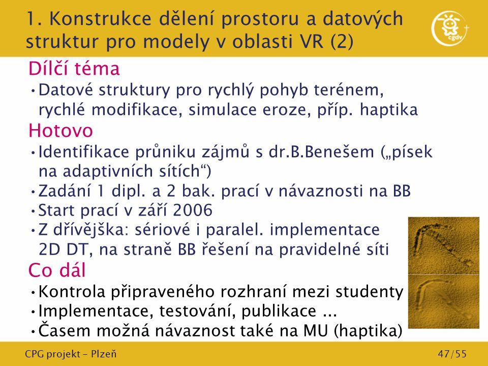 CPG projekt - Plzeň47/55 1. Konstrukce dělení prostoru a datových struktur pro modely v oblasti VR (2) Dílčí téma Datové struktury pro rychlý pohyb te