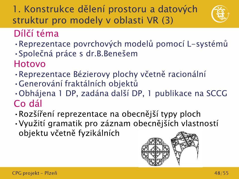 CPG projekt - Plzeň48/55 1. Konstrukce dělení prostoru a datových struktur pro modely v oblasti VR (3) Dílčí téma Reprezentace povrchových modelů pomo