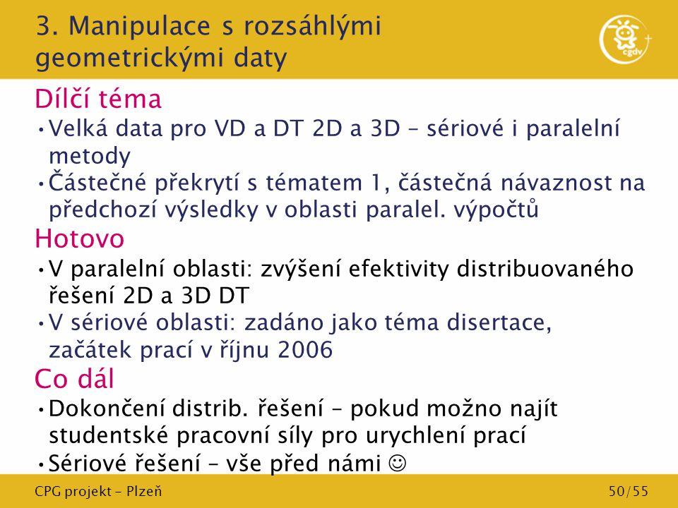 CPG projekt - Plzeň50/55 3. Manipulace s rozsáhlými geometrickými daty Dílčí téma Velká data pro VD a DT 2D a 3D – sériové i paralelní metody Částečné