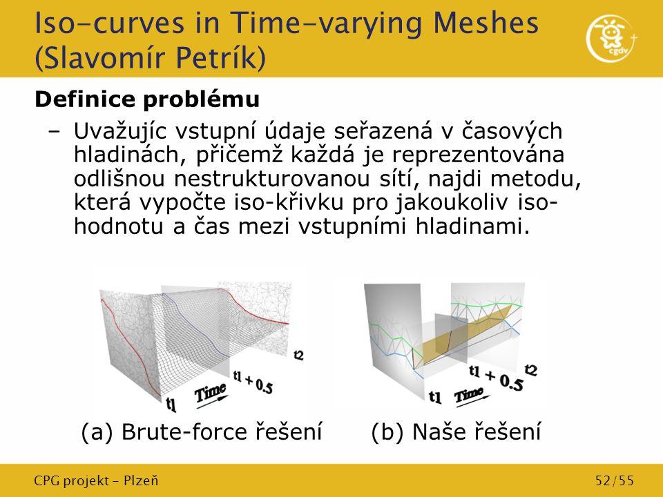 CPG projekt - Plzeň52/55 Iso-curves in Time-varying Meshes (Slavomír Petrík) Definice problému –Uvažujíc vstupní údaje seřazená v časových hladinách,