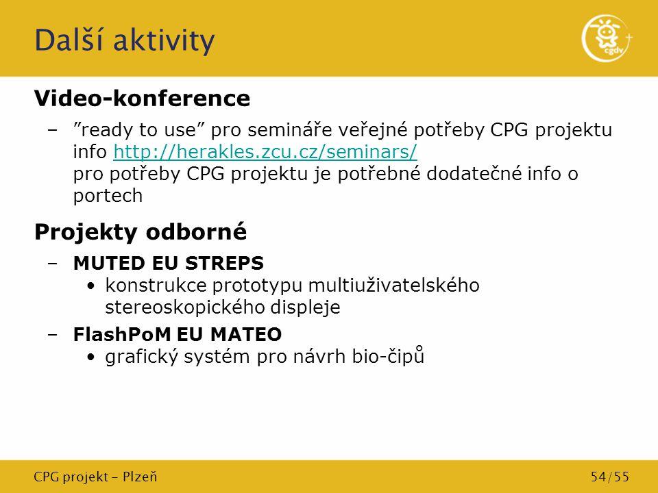 """CPG projekt - Plzeň54/55 Další aktivity Video-konference –""""ready to use"""" pro semináře veřejné potřeby CPG projektu info http://herakles.zcu.cz/seminar"""