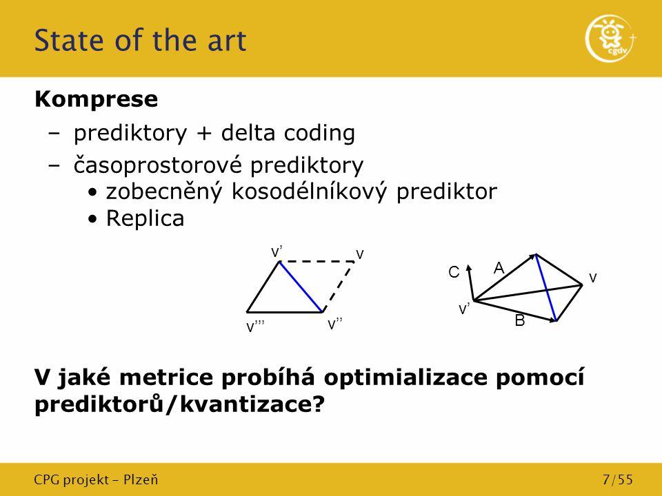 CPG projekt - Plzeň7/55 State of the art Komprese –prediktory + delta coding –časoprostorové prediktory zobecněný kosodélníkový prediktor Replica V ja