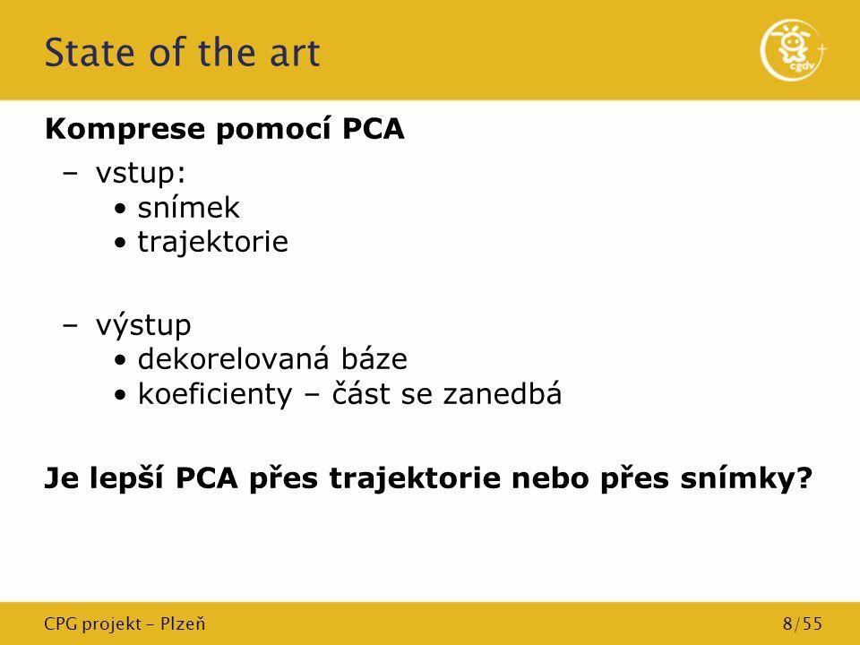 CPG projekt - Plzeň8/55 State of the art Komprese pomocí PCA –vstup: snímek trajektorie –výstup dekorelovaná báze koeficienty – část se zanedbá Je lep