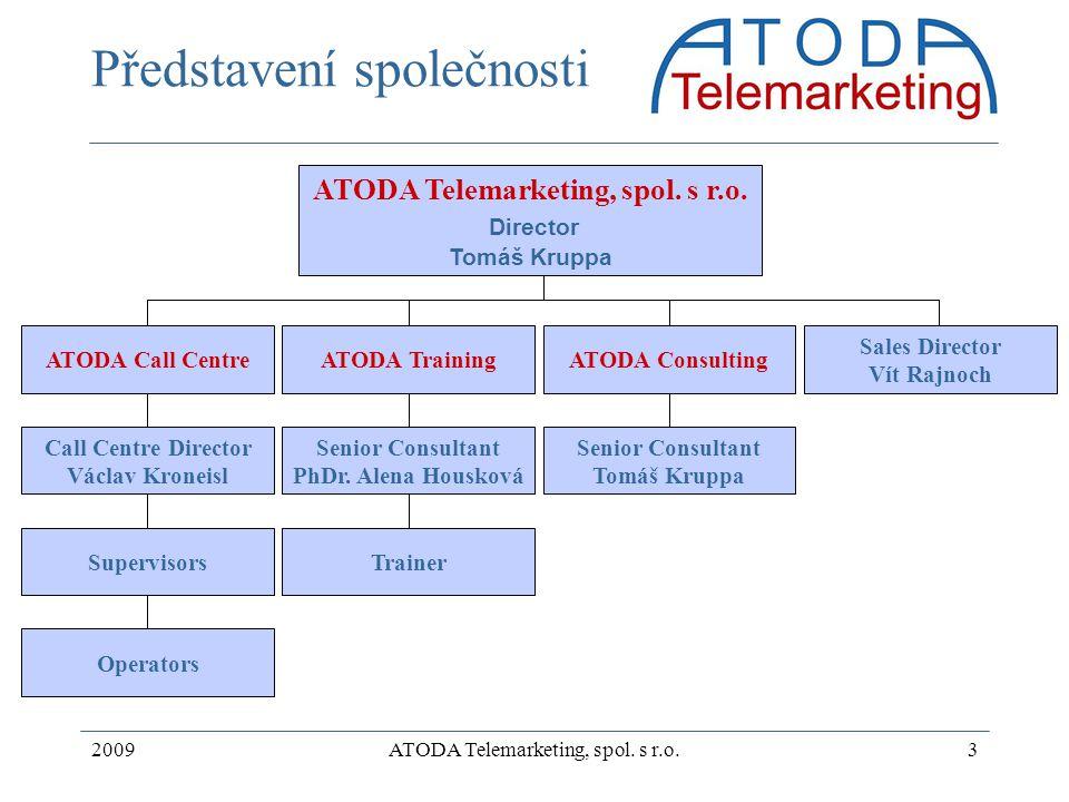 2009ATODA Telemarketing, spol. s r.o.3 Představení společnosti ATODA Telemarketing, spol. s r.o. Director Tomáš Kruppa ATODA Call CentreATODA Training