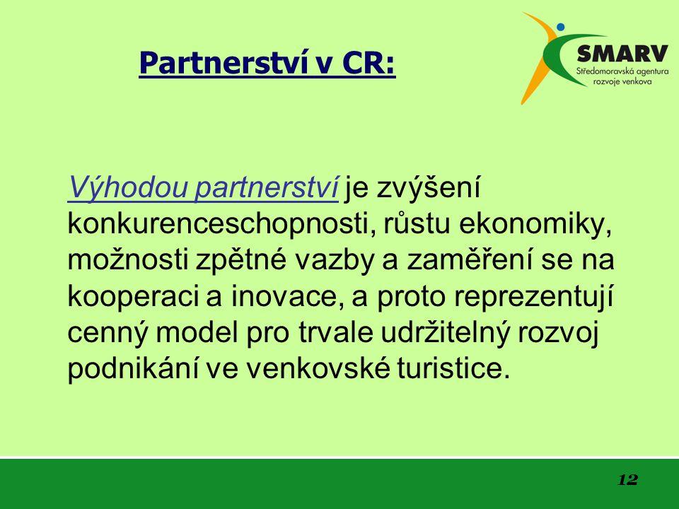 12 Partnerství v CR: Výhodou partnerství je zvýšení konkurenceschopnosti, růstu ekonomiky, možnosti zpětné vazby a zaměření se na kooperaci a inovace, a proto reprezentují cenný model pro trvale udržitelný rozvoj podnikání ve venkovské turistice.