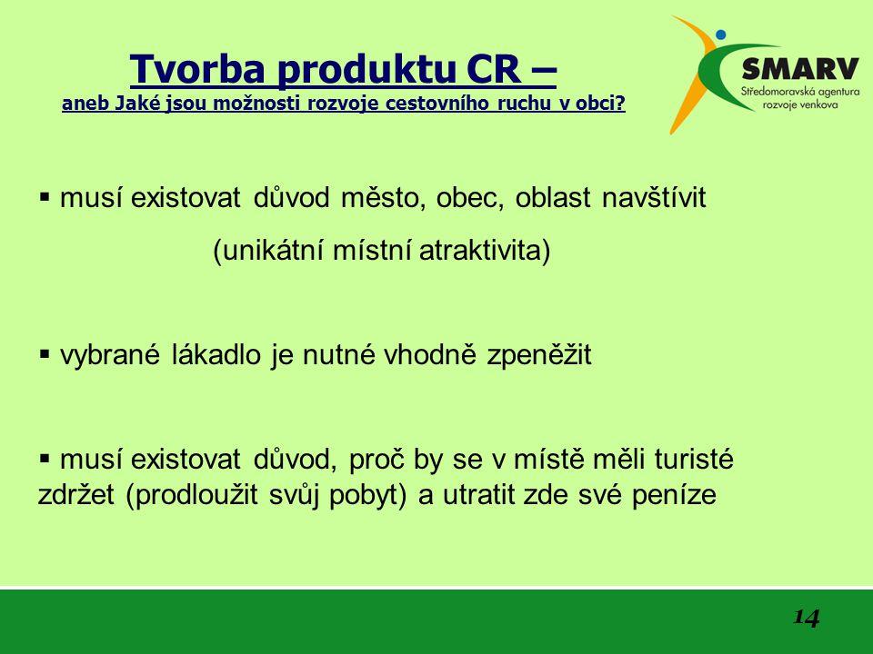 14 Tvorba produktu CR – aneb Jaké jsou možnosti rozvoje cestovního ruchu v obci.