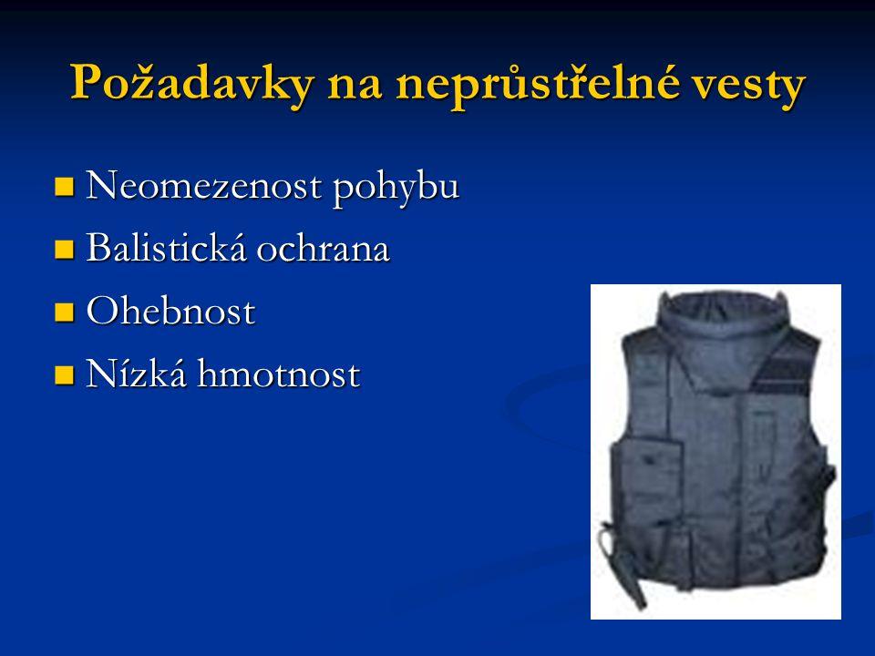 Požadavky na neprůstřelné vesty Neomezenost pohybu Neomezenost pohybu Balistická ochrana Balistická ochrana Ohebnost Ohebnost Nízká hmotnost Nízká hmotnost