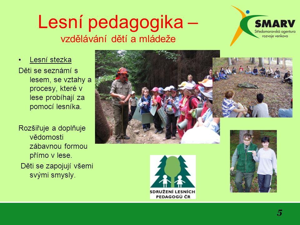 5 Lesní pedagogika – vzdělávání dětí a mládeže Lesní stezka Děti se seznámí s lesem, se vztahy a procesy, které v lese probíhají za pomocí lesníka. Ro