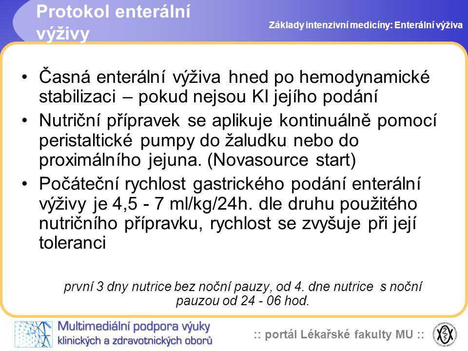 :: portál Lékařské fakulty MU :: Časná enterální výživa hned po hemodynamické stabilizaci – pokud nejsou KI jejího podání Nutriční přípravek se apliku