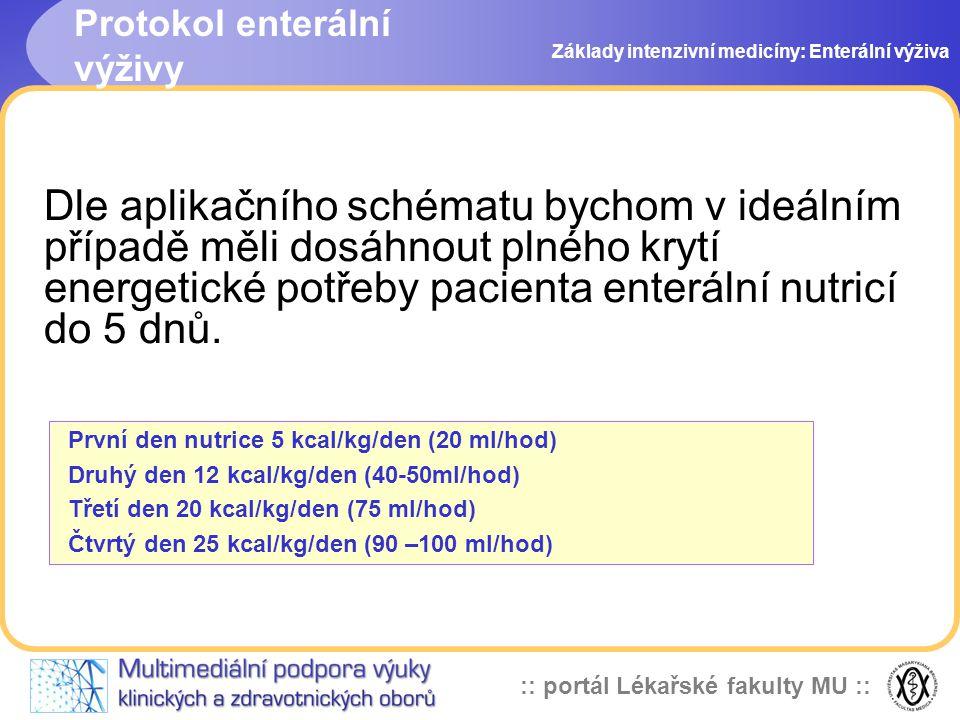 :: portál Lékařské fakulty MU :: Dle aplikačního schématu bychom v ideálním případě měli dosáhnout plného krytí energetické potřeby pacienta enterální