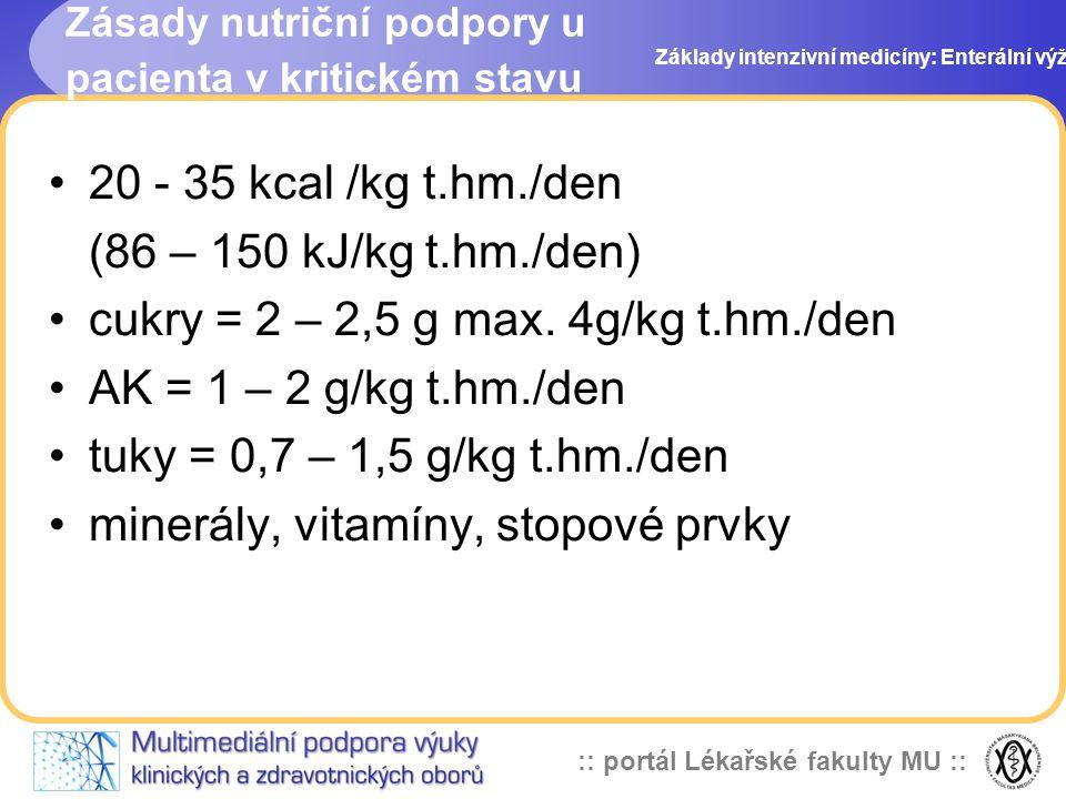 :: portál Lékařské fakulty MU :: 20 - 35 kcal /kg t.hm./den (86 – 150 kJ/kg t.hm./den) cukry = 2 – 2,5 g max. 4g/kg t.hm./den AK = 1 – 2 g/kg t.hm./de