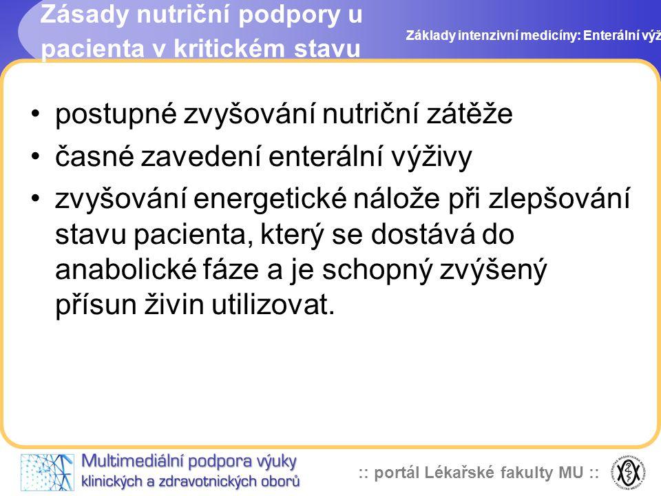 :: portál Lékařské fakulty MU :: postupné zvyšování nutriční zátěže časné zavedení enterální výživy zvyšování energetické nálože při zlepšování stavu