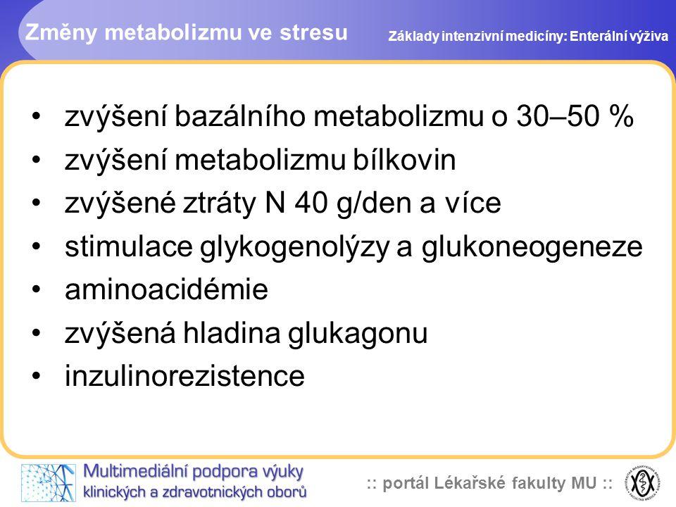 :: portál Lékařské fakulty MU :: Změny metabolizmu ve stresu zvýšení bazálního metabolizmu o 30–50 % zvýšení metabolizmu bílkovin zvýšené ztráty N 40