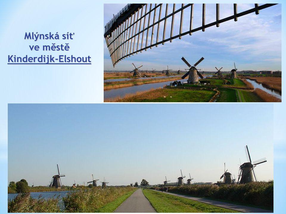 Mlýnská síť ve městě Kinderdijk-Elshout