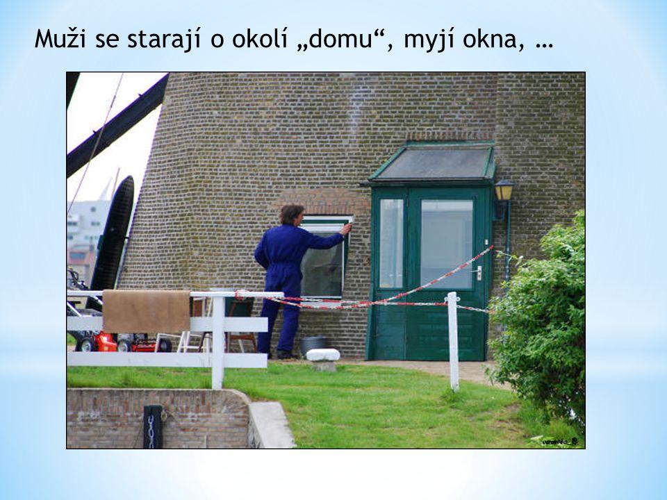 """Muži se starají o okolí """"domu"""", myjí okna, …"""