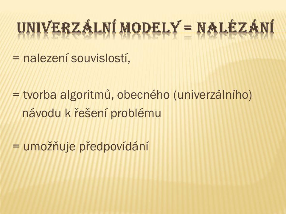 = nalezení souvislostí, = tvorba algoritmů, obecného (univerzálního) návodu k řešení problému = umožňuje předpovídání