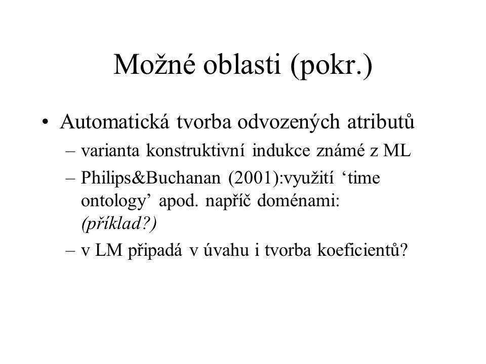 Možné oblasti (pokr.) Automatická tvorba odvozených atributů –varianta konstruktivní indukce známé z ML –Philips&Buchanan (2001):využití 'time ontology' apod.