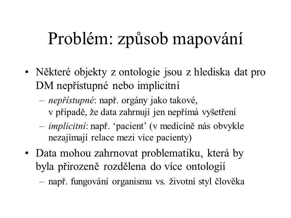 Problém: způsob mapování Některé objekty z ontologie jsou z hlediska dat pro DM nepřístupné nebo implicitní –nepřístupné: např.