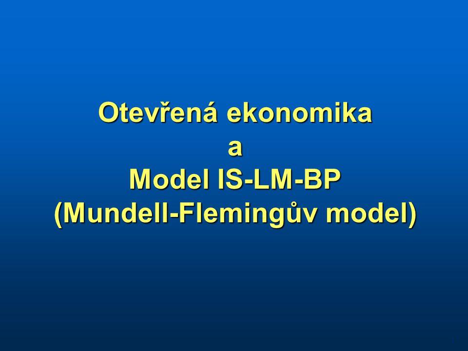Otevřená ekonomika a Model IS-LM-BP (Mundell-Flemingův model) 1