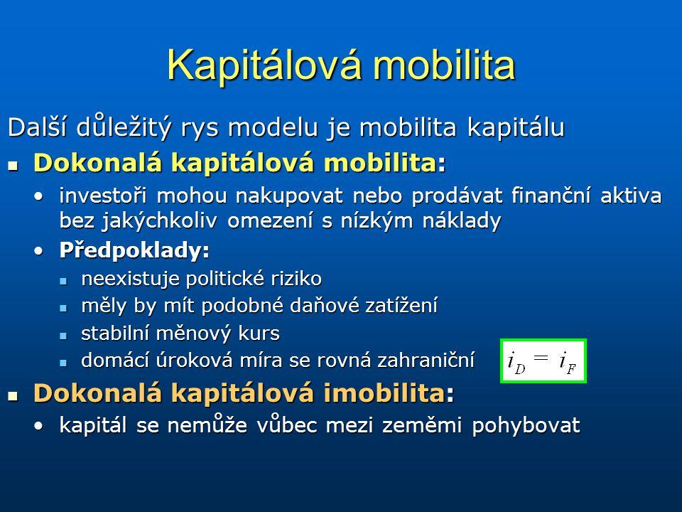 Kapitálová mobilita Další důležitý rys modelu je mobilita kapitálu Dokonalá kapitálová mobilita: Dokonalá kapitálová mobilita: investoři mohou nakupov
