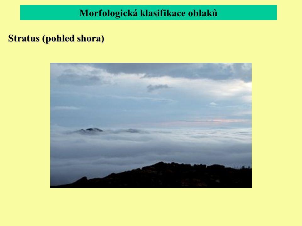 Morfologická klasifikace oblaků Stratus (pohled shora)