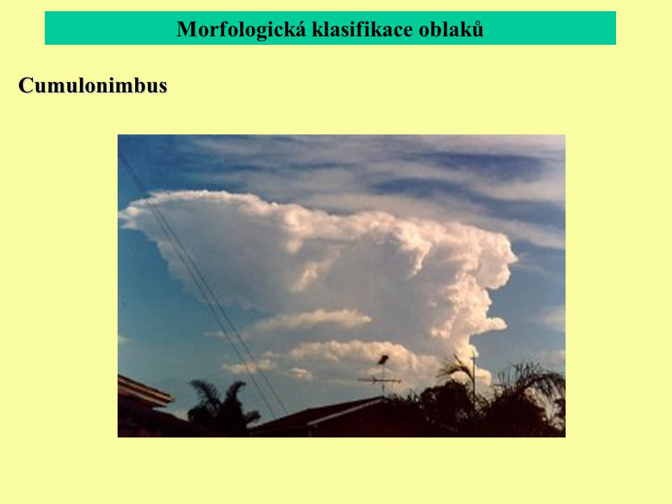 Morfologická klasifikace oblaků Cumulonimbus
