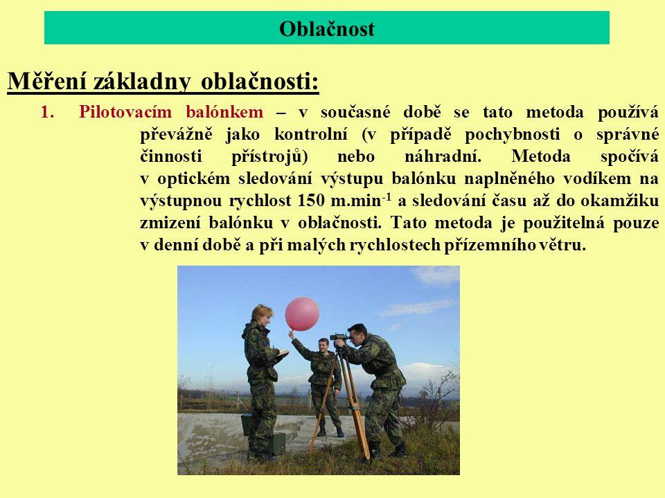 Oblačnost Měření základny oblačnosti: 1.Pilotovacím balónkem – v současné době se tato metoda používá převážně jako kontrolní (v případě pochybnosti o