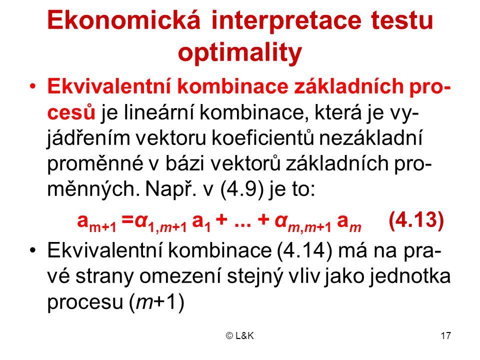 © L&K17 Ekonomická interpretace testu optimality Ekvivalentní kombinace základních pro- cesů je lineární kombinace, která je vy- jádřením vektoru koeficientů nezákladní proměnné v bázi vektorů základních pro- měnných.