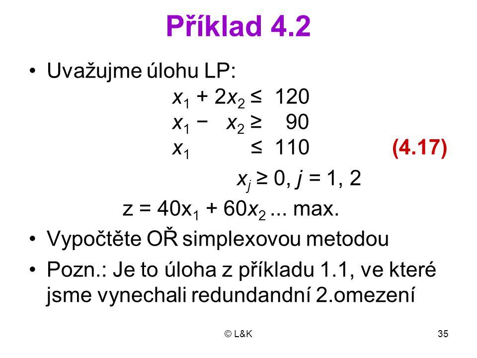 © L&K35 Příklad 4.2 Uvažujme úlohu LP: x 1 + 2x 2 ≤ 120 x 1 − x 2 ≥ 90 x 1 ≤ 110 (4.17) x j ≥ 0, j = 1, 2 z = 40x 1 + 60x 2...