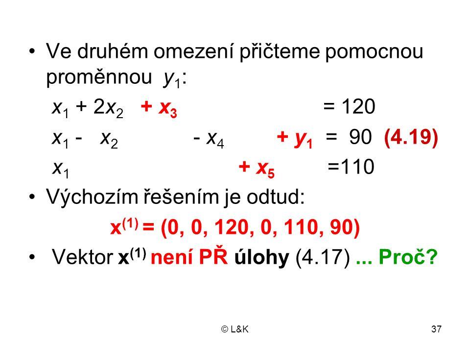 © L&K37 Ve druhém omezení přičteme pomocnou proměnnou y 1 : x 1 + 2x 2 + x 3 = 120 x 1 - x 2 - x 4 + y 1 = 90 (4.19) x 1 + x 5 =110 Výchozím řešením j