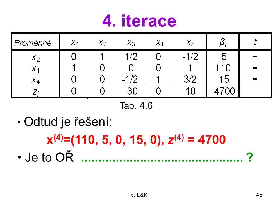 © L&K45 4. iterace Tab. 4.6 Odtud je řešení: x (4) =(110, 5, 0, 15, 0), z (4) = 4700 Je to OŘ............................................... ?